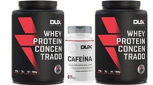 Kit 2 Whey Protein Concetrado 900g + Termogenico Cafeina Dux