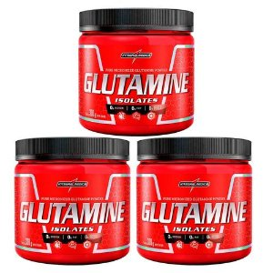 Kit 3x Glutamine Isolates 300g Integralmedica - L-Glutamina