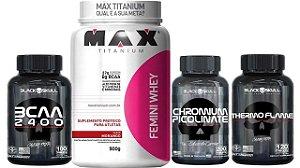 Kit Femini Whey + Chromium Picolinate+bcaa+termogenico