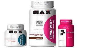Kit Femini Whey 900g + colageno 100 cap + omega 3 90 cap max titanium