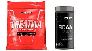Creatina Pouch 1kg integralmedica + BCAA 3500 pote 100 capsulas Dux Nutrition
