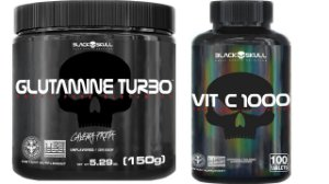 Glutamina Turbo 150G Black Skull + Vitamina C 100 Capsulas Black Skull