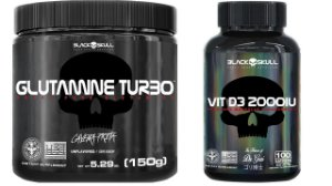 Glutamina Turbo 150g + Vitamina D3 2000UI 100 capsulas Black Skull
