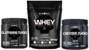 Whey Protein 900g refil + Creatina Turbo 150g + Glutamina Turbo 150g Black Skull
