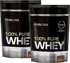 Kit 2x 100% Pure Whey Protein 825g Refil probiotica