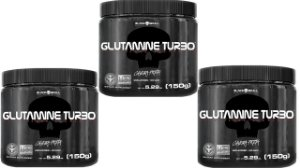 Combo 3 x Glutamina Turbo 150g cada black skull