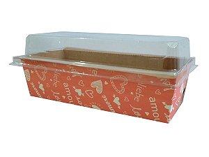 Assadeira forneável bolo inglês com tampa estampa Love capacidade 300g