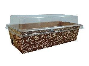 Assadeira forneável bolo inglês com tampa estampa Cake capacidade 300g