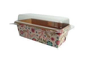 Assadeira forneável bolo inglês com tampa estampa Primavera capacidade 65g