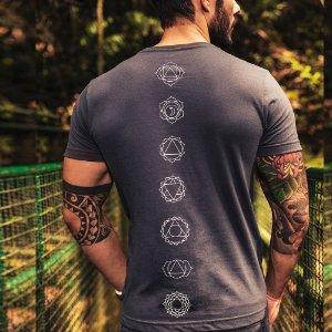 Camiseta 7 Chakras Gola V Chumbo