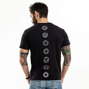 Camiseta 7 Chakras Gola V Preta