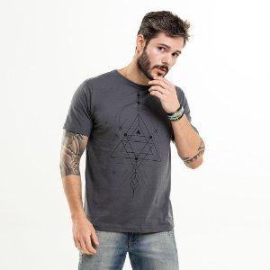 Camiseta Geometria Chumbo