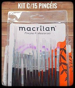 Kit com 15 Pincéis - Formatos Variados - Macrilan