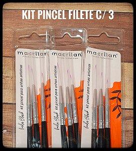 Kit Pincel Filete c/ 3- Macrilan
