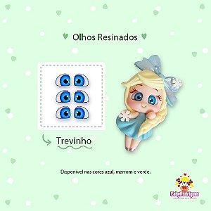 Olhos Resinados Trevinho - F02 - Faby Rodrigues - Azul