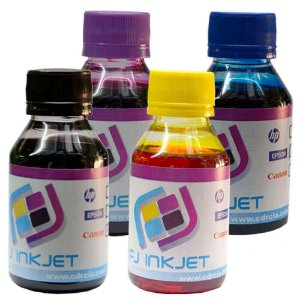 KIT COM AS 4 CORES DE TINTA PARA EPSON(100 ML DE CADA COR)
