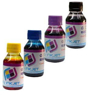 KIT COM AS 4 CORES DE TINTA PARA HP(100 ML DE CADA COR)