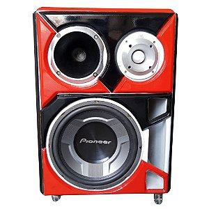 Caixa Bob Residencial Trio Som Pioneer JBL Bluetooth red
