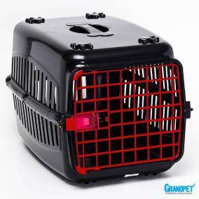 N2 Caixa De Transporte Cachorro Gatos Preta Porta Rosa