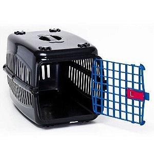 N2 Caixa De Transporte Cachorro Gatos Preta Porta Azul