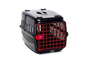 N2 Caixa De Transporte Cachorro Gatos Preta Porta Vermelha