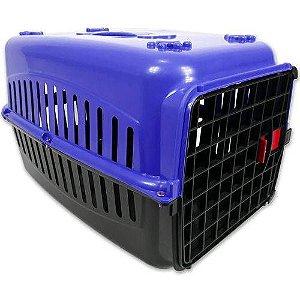 N2 Caixa De Transporte Alça Porta Gatos Coelhos AZUL/PRETA