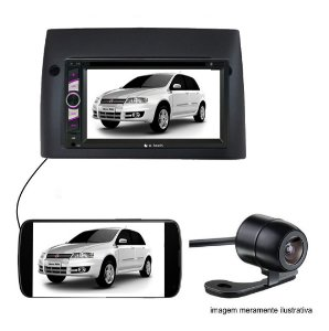 Central Multimidia Dvd 2Din Fiat Stilo Preta Camera de ré