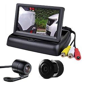 Tela Monitor Veicular 4.3 Vídeo Lcd + Camera De Ré Borboleta