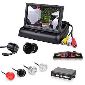 Tela Monitor 4.3 Vídeo Lcd + Camera Ré Borboleta + Sensor