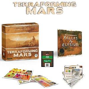 Terraforming Mars + Hellas & Elysium + Cartas Promo + Tabuleiro Duplo + Sleeve
