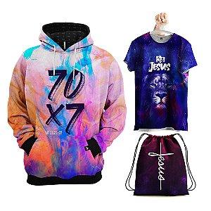KIT MOLETOM GOSPEL 70 X 7 + Camiseta + Bolsa e Mascara