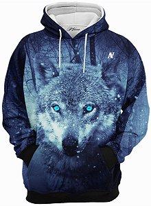 Blusa de Frio Moletom Lobo Gelo Azul
