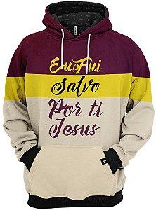 Blusa de Frio Moletom Eu Fui Salvo Por Ti Jesus