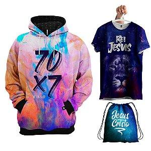 KIT 1 Moletom 1 Camiseta 1 Bolsa Galáxia 70 X 7 Evangélica