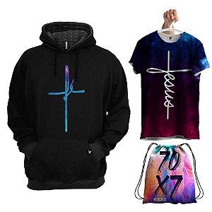 KIT 1 Moletom 1 Camiseta 1 Bolsa Fé