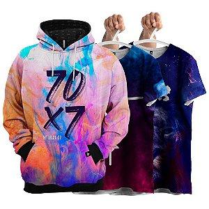 KIT 1 Moletom 2 Camisetas Galáxia 70 X 7 Evangélica