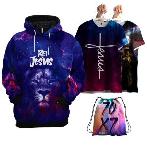 KIT 1 Moletom 2 Camisetas 1 Bolsa Leão Rei Jesus