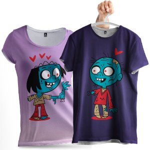 KIT 2 Camisetas Casal Romântico Zumbi