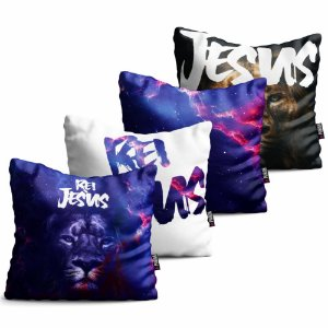 Kit 4 Capas para Almofadas Decorativas Gospel Leão Rei Jesus