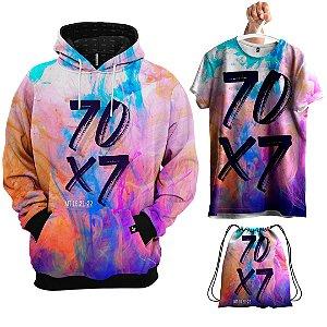 KIT Moletom Galáxia 70 X 7 Evangélica - Grátis Camisa e Bolsa