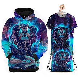 KIT Moletom Leão Galáxia 3D - Grátis Camisa e Bolsa