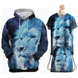 KIT Moletom Leão Azul - Grátis Camisa e Bolsa