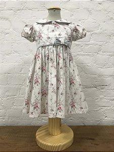 Vestido Floral Cinza com Faixa