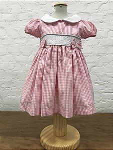 Vestido Casinha de Abelha Xadrez Vichy Rosa Claro