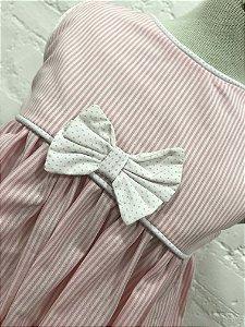 Vestido Rosa com Listras Brancas e Tapa Traldas