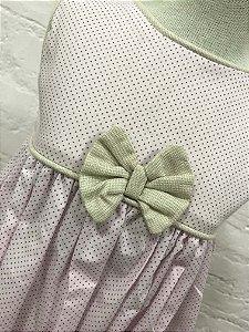 Vestido Poá Lilás com Tapa Fraldas