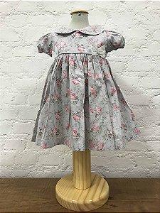 Vestido Cinza Floral Rosa com Tapa Fraldas