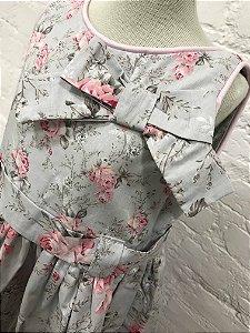 Vestido Cinza Floral Rosa com babado