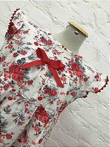 Vestido Floral Branco e Vermelho