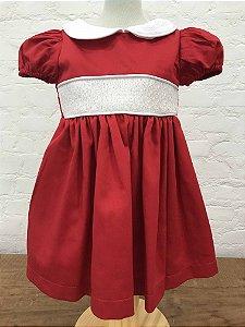 Vestido Casinha de Abelha com Manga Princesa Vermelho